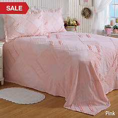 Ruffle Chenille Bedspread - Pink
