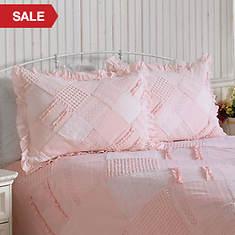 Ruffle Chenille Sham - Pink
