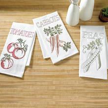 Embroidered Flour Sack Towel Sets-Garden Vegetable