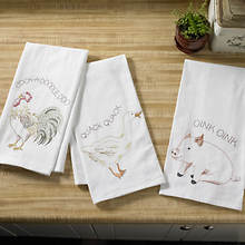 Embroidered Flour Sack Towel Sets-Farm Animal