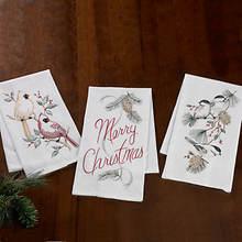 Embroidered Flour Sack Towel Sets-Christmas