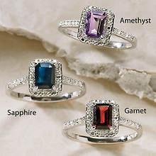 Sterling Silver Gemstone Rings - Sapphire