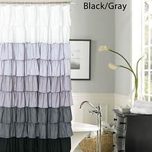 Ruffle Shower Curtain - Black/Gray