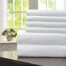600-Thread Count Woven Stripe Sheet Set - White