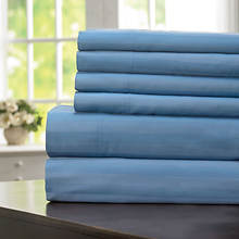 600-Thread Count Woven Stripe Sheet Set - Slate Blue
