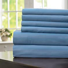 600-Thread Count Woven Stripe Sheet Set - Slate Blue