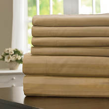 600-Thread Count Woven Stripe Sheet Set - Pebble