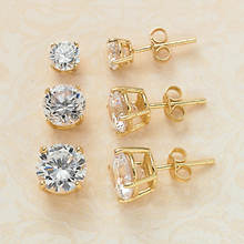 3-Pc. Cubic Zirconia Earring Set - Gold