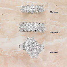Cubic Zirconia Strerling Silver Ring - Marquise