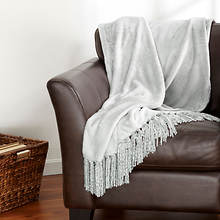 Danya Fringe Throw - Mist Gray