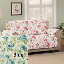 English Floral Furniture Protector - Loveseat - Blue