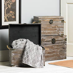 3-Pc. Wooden Trunk Set