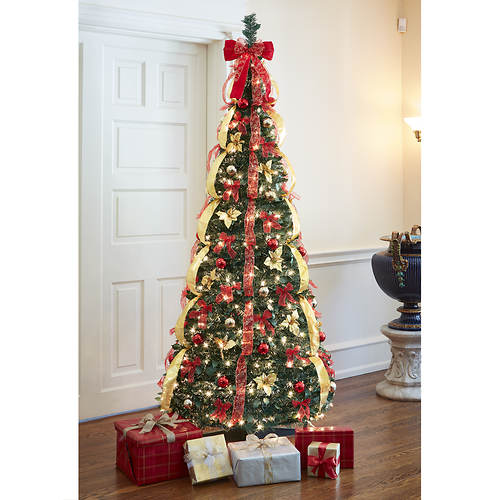 6' Pop-Up Pre-Lit/Pre-Decorated Tree - Decorated Pre-Lit Pull Up Tree - Red - Color Out Of Stock Figi's