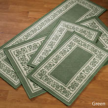 4-Pc. Floral Border Rug Set - Green