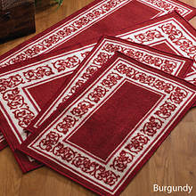 4-Pc. Floral Border Rug Set - Burgundy