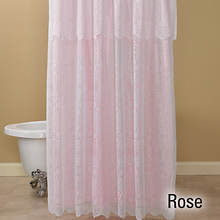 15-Pc. Lace Shower Curtain and Rug Set - Rose