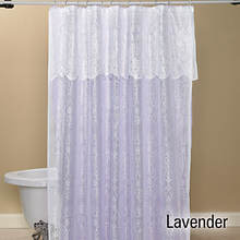15-Pc. Lace Shower Curtain and Rug Set - Lavender
