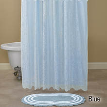 15-Pc. Lace Shower Curtain and Rug Set - Blue
