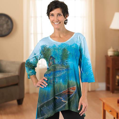 Ladies' Spring Design Artisan Tee Shirt - At the Lake