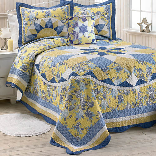 French Star Quilted Bedspread