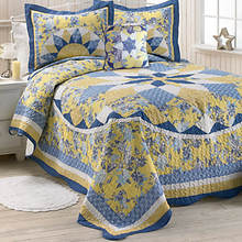 French Star Quilted Bedspread - Blue