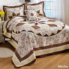 French Star Quilted Bedspread - Mocha