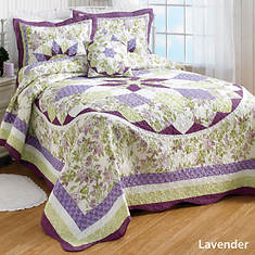 French Star Quilted Bedspread - Lavender