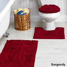 Glenwood Chenille Bath Rug Set - Burgundy