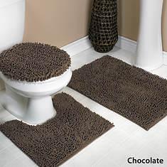 Glenwood Chenille Bath Rug Set - Chocolate