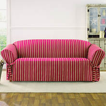Sure Fit Grain Sack Slipcover - Sofa - Claret
