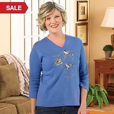Embelishd V-Neck Birds Shirt - Misses'
