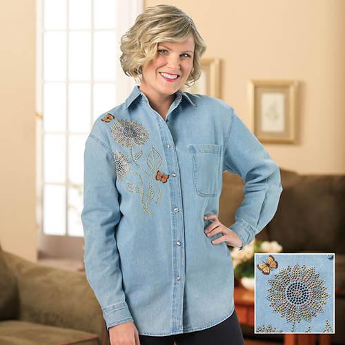 Embelished Denim Flower Shirt - Misses'