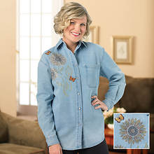 Embelished Denim Flower Shirt - Women's