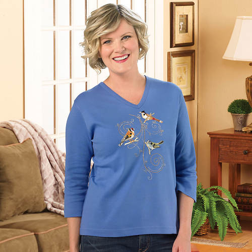 Embelishd V-Neck Birds Shirt - Women's