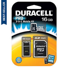 Duracell 16GB Micro SD Card/SD Card Kit