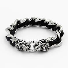 Leather and Link Tiger Bracelet