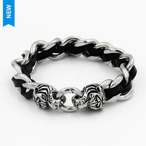 Leather & Link Tiger Bracelet