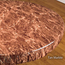 Elasticized Vinyl Table Cover - Tan Marble