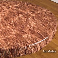 Elasticized Vinyl Table Cover - Tan Marble