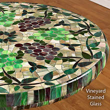 Elasticized Vinyl Table Cover - Vineyard Stained Glass