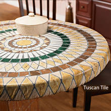Elasticized Vinyl Table Cover - Tuscan Tile