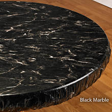Elasticized Vinyl Table Cover - Black Marble