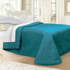 Luxury Quilted Bedspread - Teal