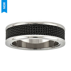 Wire Mesh Inlay Band Ring