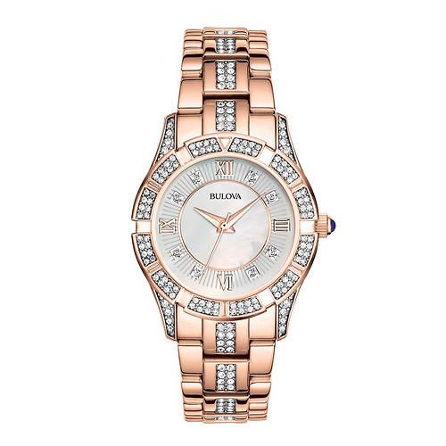 Bulova Rose Gold-Tone Crystal Watch