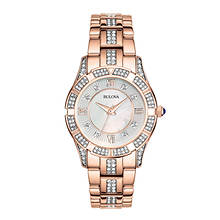 Bulova Rose Gold-Tone Crystal Watch