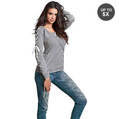 42f833587a7008 Lace Up Sleeve Sweatshirt