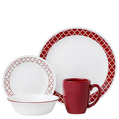 Corelle Crimson Trellis 16-Piece Dinnerware Set