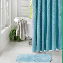 Chenille Shower Curtain with Rug - Turquoise