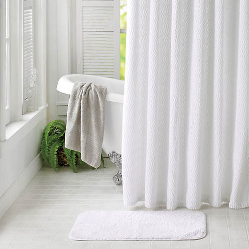 Chenille Shower Curtain With Rug